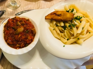 LilyGate Hotel - penne with a rich veggie tomato sauce (featuring a plantain stolen from my mum's side of plantain)